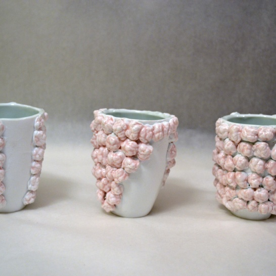 "Gum Cups Three molded porcelain cups and molded porcelain chewed gum 4""x3""x13"" 2013"
