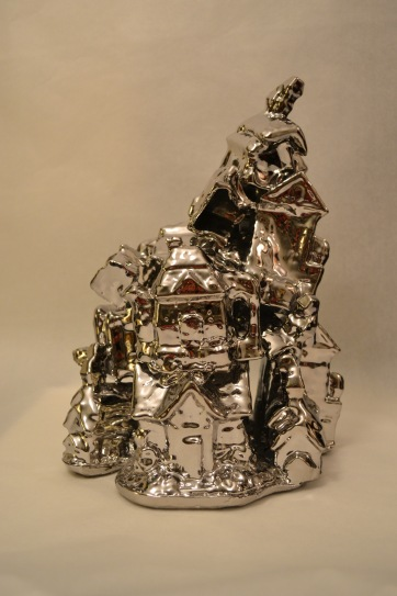 "Super Tchotchke Porcelain and PVD coating 12""x9.5""x7.25"" 2013"