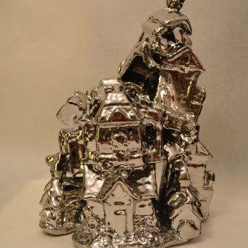 """Super Tchotchke Porcelain and PVD coating 12""""x9.5""""x7.25"""" 2013"""
