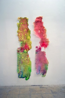 "Spit Scab (Left) and Spit Skin (Right) Mixed media and spit96""x 12"" and 96""12"