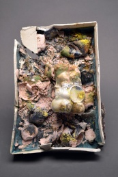 "Glop Box #4 10""x 3"" x 8"" Porcelain, found ceramics, mixed glazes 2013"