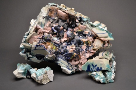 "Super Glop 12""x 5"" x 9"" Porcelain, found ceramics, mixed glazes 2013"