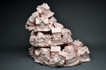 "Super Pink Tchotchke Porcelain 18""x18"" x 24"" 2014"