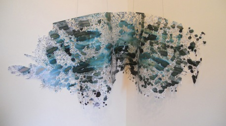 "Big Black #2 Mixed Media and spit 36""x 96"" 2014"