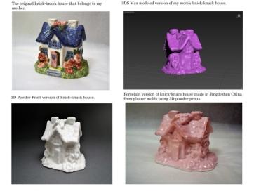 "Tchotchke House with FlowersProcess view: Original house, 3D computer model, 3D powder print, molded porcelain3""x4.5""x2.25""2013"