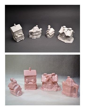 "Tchotchke House Collection3D powder printsFrom left: 4""x2.5""x2.25"", 3.25""x3.75""x2.25"", 3.5""x1.5""x2.25"", 3""x4.5""x2.25""Molded porcelainFrom left: 3.5""x1.5""x2.25"", 4""x2.5""x2.25"", 3""x4.5""x2.25"", 3.25""x3.75""x2.25""2013"