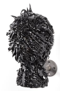 "Halves (detail of head piece) 17"" x 32""x 9"" Latex caulk, laser cut wood, acrylic, and styrofoam 2015"